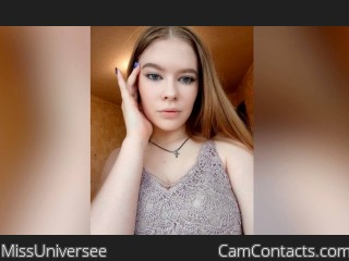 Webcam model MissUniversee from CamContacts